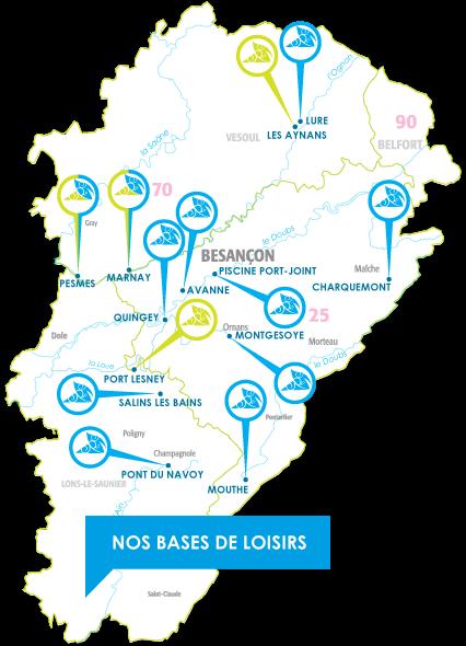 Woka Loisirs - Carte des bases de loisirs et des campings (Les aynans, lure, charquemont,avanne, quingey, marnay, fesmes, port lesney, salins les bains, pont du navoy, mouthe)